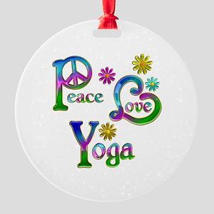 Peace Love Yoga Round Ornament