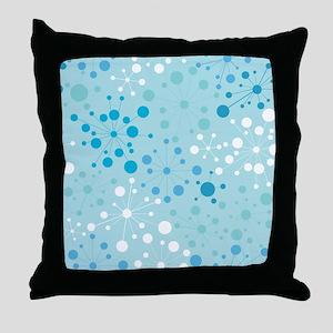 Retro Dots Aqua Throw Pillow