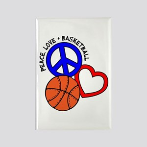 PEACE, LOVE, B-BALL Rectangle Magnet
