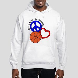 PEACE, LOVE, B-BALL Hooded Sweatshirt