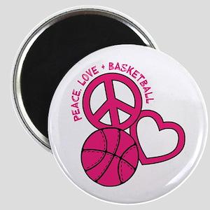 PEACE, LOVE, B-BALL Magnet