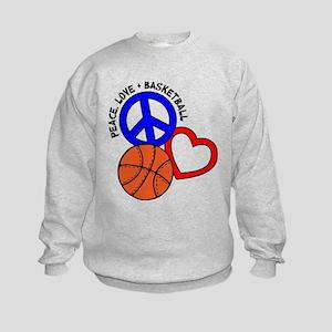 PEACE, LOVE, B-BALL Kids Sweatshirt