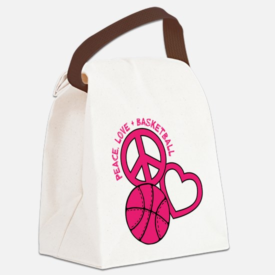 PEACE, LOVE, B-BALL Canvas Lunch Bag