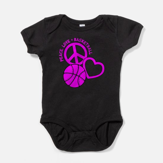 PEACE, LOVE, B-BALL Baby Bodysuit