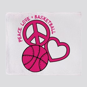 PEACE, LOVE, B-BALL Throw Blanket