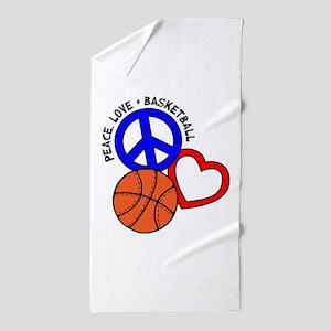 Peace Love B Ball Beach Towel
