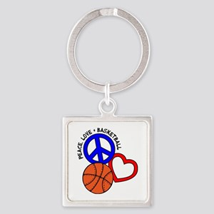PEACE, LOVE, B-BALL Square Keychain