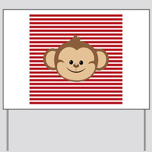 Cute Monkey on Red and White Stripes Yard Sign