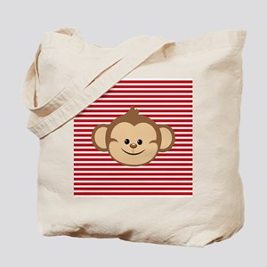 Cute Monkey on Red and White Stripes Tote Bag