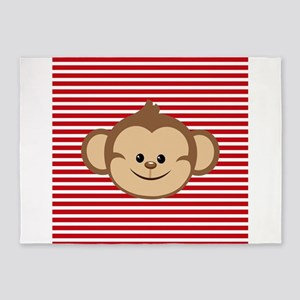 Cute Monkey on Red and White Stripes 5'x7'Area Rug