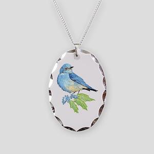 Watercolor Mountain Bluebird Bird nature Art Neckl
