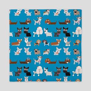 Dog Breeds on Blue Background Queen Duvet