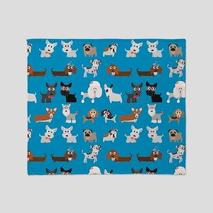 Dog Breeds on Blue Background Throw Blanket