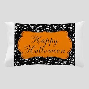 Happy Halloween on Black and Orange Pillow Case