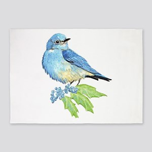 Watercolor Mountain Bluebird Bird nature Art 5'x7'