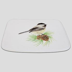 Chickadee Bird on Pine Branch Bathmat