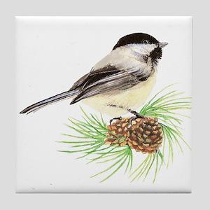 Chickadee Bird on Pine Branch Tile Coaster