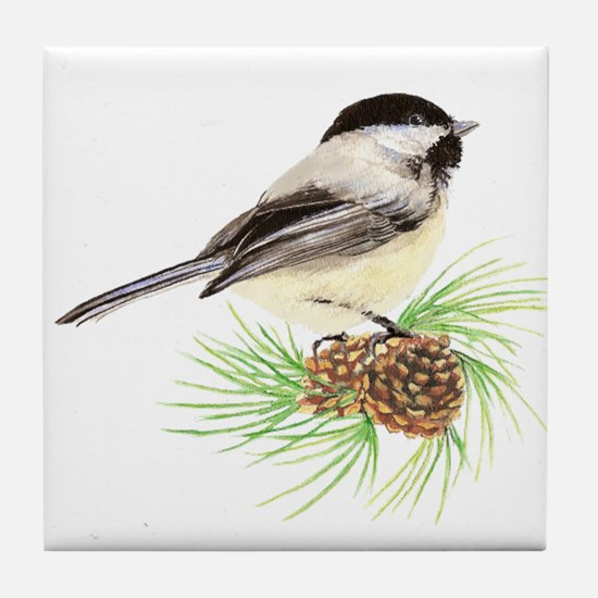 Chickadee Bird on Pine Branch Tile Coaster