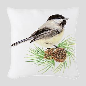 Chickadee Bird on Pine Branch Woven Throw Pillow