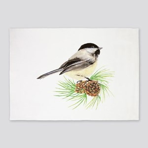 Chickadee Bird on Pine Branch 5'x7'Area Rug