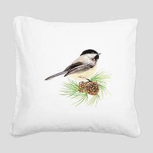 Chickadee Bird on Pine Branch Square Canvas Pillow