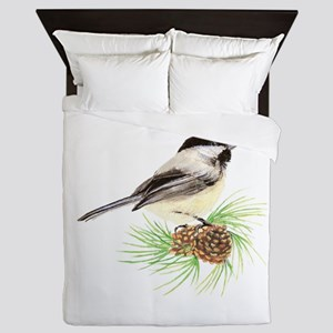 Chickadee Bird on Pine Branch Queen Duvet