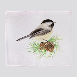 Chickadee Bird on Pine Branch Throw Blanket