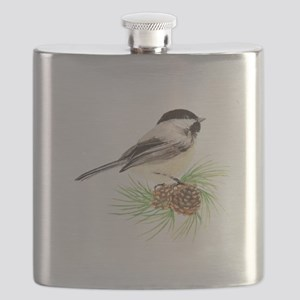 Chickadee Bird on Pine Branch Flask