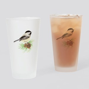 Chickadee Bird on Pine Branch Drinking Glass