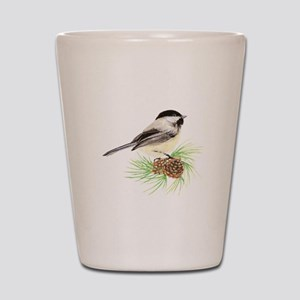 Chickadee Bird on Pine Branch Shot Glass