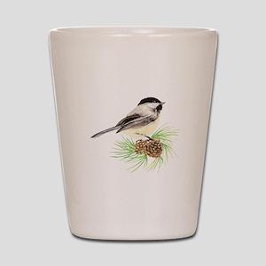 Chickadee Bird on Pine Branch Shot Glass