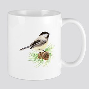 Chickadee Bird on Pine Branch Mugs