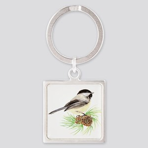 Chickadee Bird on Pine Branch Keychains