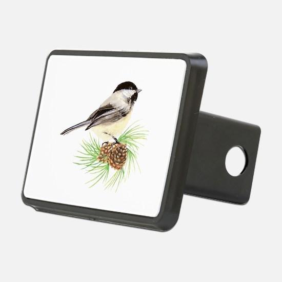 Chickadee Bird on Pine Branch Hitch Cover