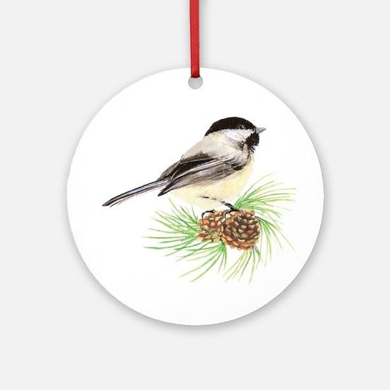 Chickadee Bird on Pine Branch Ornament (Round)