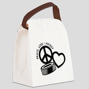 PEACE-LOVE-HOCKEY Canvas Lunch Bag