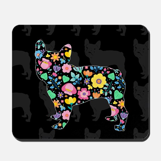 floral french bulldog art Mousepad