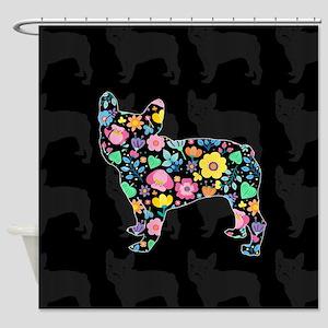 floral french bulldog art Shower Curtain