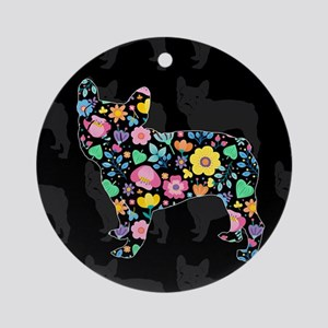 floral french bulldog art Round Ornament