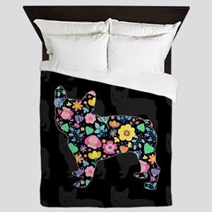 floral french bulldog art Queen Duvet