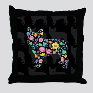 floral french bulldog art Throw Pillow