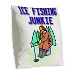 IceFishingJunkie Burlap Throw Pillow