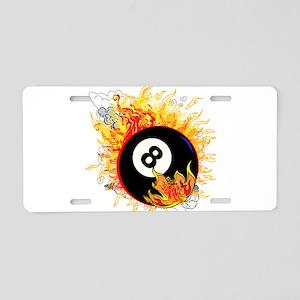 Fiery Eight Ball Aluminum License Plate