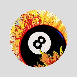 """Fiery Eight Ball 3.5"""" Button"""