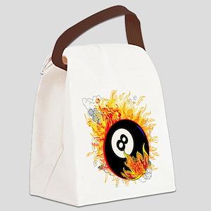 Fiery Eight Ball Canvas Lunch Bag
