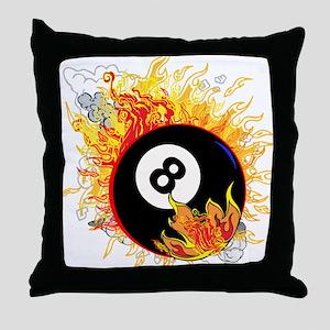 Fiery Eight Ball Throw Pillow