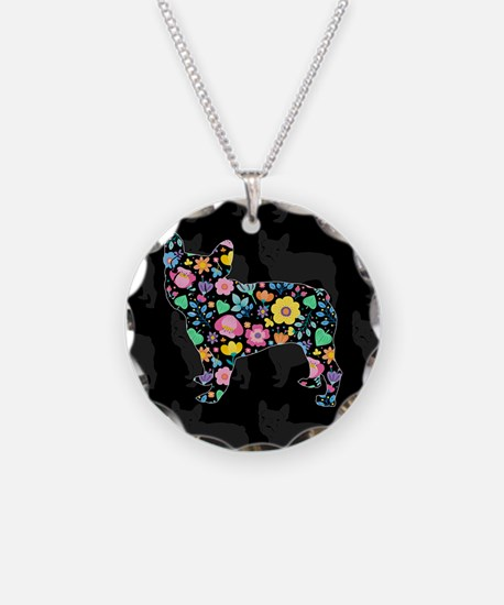 floral french bulldog art Necklace Circle Charm