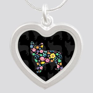 floral french bulldog art Necklaces