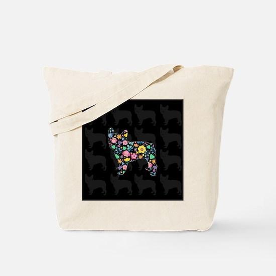 floral french bulldog art Tote Bag