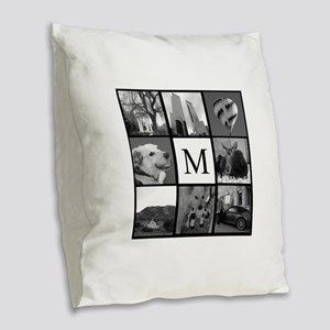 Monogrammed Photo Block Burlap Throw Pillow